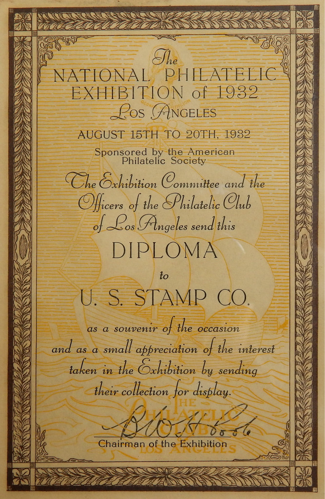 Diploma Presented To United States Stamp Company For Exhibiting Their Collection In The National Philatelic Exhibition Of 1932 Los Angeles CA
