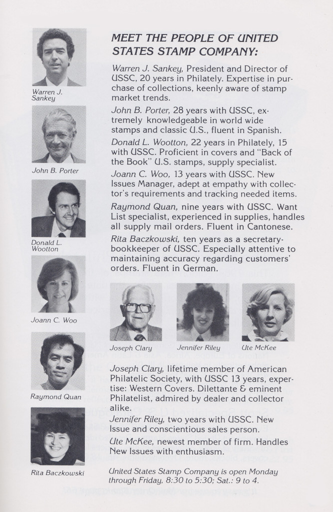 Staff Of United States Stamp Company Circa 1980s