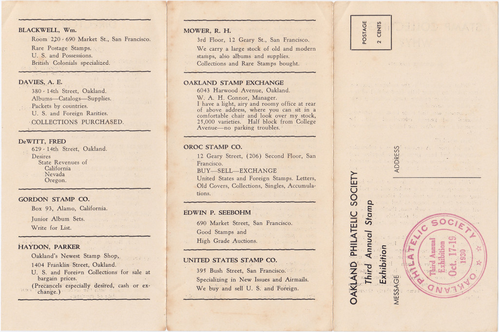 1930 Oakland Philatelic Society 3rd Annual Stamp Exhibition Brochure Featuring United States Company